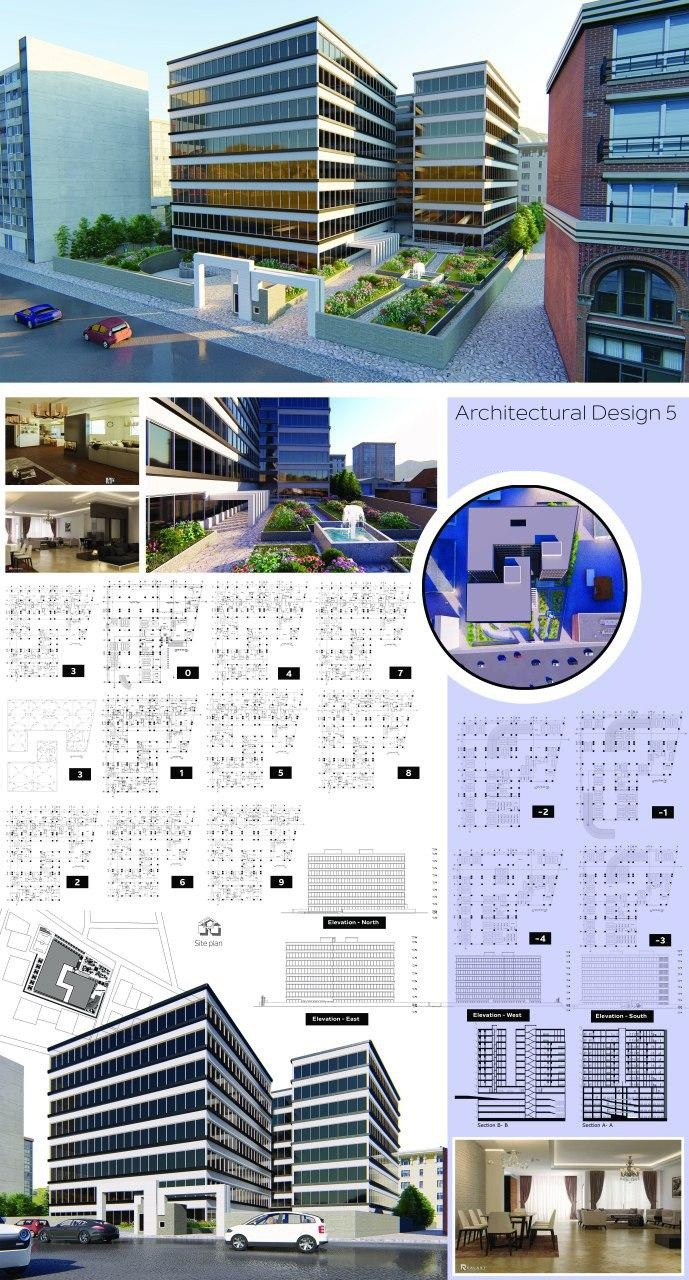 دانلود پروژه کامل طرح 5 معماری مجتمع مسکونی