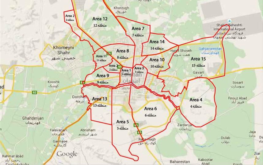 دانلود نقشه کد منطقه 9 اصفهان